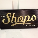 23 K Gold & Palladium Leaf on custom cut stained & waxed wood for TARGET ad